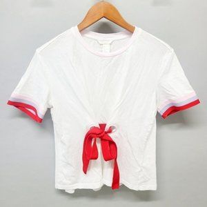 H&M Tie up White Short Sleeve Tee Size Small